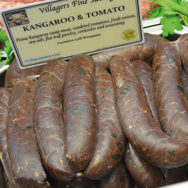 Kangaroo and Tomato Sausages