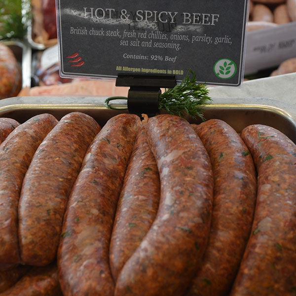 Hot and Spicy Beef Sausages
